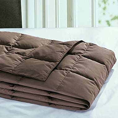 Puredown All Season Goose Down Sport Blanket, Down-proof Peach Skin Fabric Packable Throw, Chocolate