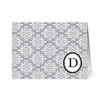 Note Card Café Monogram Smoke 'D' Letter Cards | Grey Envelopes | 24 Pack | Blank Inside, Glossy Finish | Modern Royal Damask Design |Bulk Set | Stationery, Personalized Greeting, Thank You