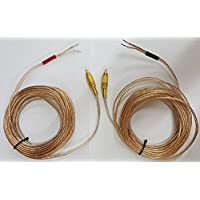 Pair of Gold Plated Metal RCA (PHONO) Red/Black Connectors to Open 16 awg Speaker Wire Leads (Heavy Duty 16 Gauge perfect for Amplifiers and Subwoofers) 6 Feet