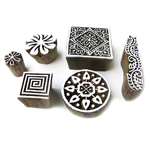 Handmade Square and Round Designs Wood Blocks for Printing (Set of 6) (B00PK4LNJS) Amazon Price History, Amazon Price Tracker