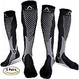 2 pairs Mens & Womens Compression Socks womens 20-30 mmhg best flight pregnancy nurse travel socks (L-XL, Black - Grey)