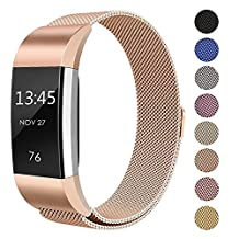 for Fitbit Charge 2 Strap Band, FashionAids Milanese Loop Stainless Steel Metal Bracelet Strap with Unique Magnet Lock for Fitbit Charge 2 Fitness Tracker Rose Gold-S