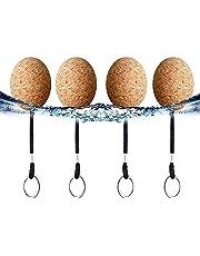 Float Keychain, kurksleutelhangers, zwemmende sleutelhangers, kurk, sleutelhanger met sleutelring, watersportaccessoire voor zwemmen, kanoën, 35 mm