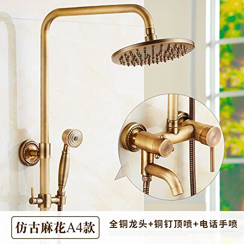 P GFEI Round, hot and cold copper, antique shower, faucet   shower, shower faucet   shower faucet, wall hanging,Q