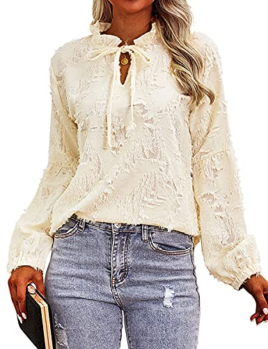 MYMORE Womens Bubble Long Sleeve High V Neck Blouses Casual Elegant Distressed Shirts Tops with Drawstring Apricot