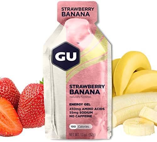 GU Energy Original Sports Nutrition Energy Gel, Strawberry Banana, 8-Count Box
