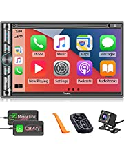 """Double DIN CarPlay Multimedia Player, 7"""" HD Capacitive Touchscreen, Car Stereo with Backup Camera, Bluetooth, 16-Band EQ, Steering Wheel Controls, Mirror-Link, USB/SD Port, AM/FM Car Radio Receiver"""