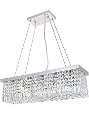 A1A9 Moderne kristallen kroonluchter, heldere K9 kristallen druppelvormige plafondlamp rechthoekig chroom hanglamp voor eetkamer woonkamer foyer salon keuken