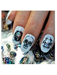 Mapletop 4*100CM Skull Design Nail Art Foil Stickers Transfer Decal Tips Manicure (D)
