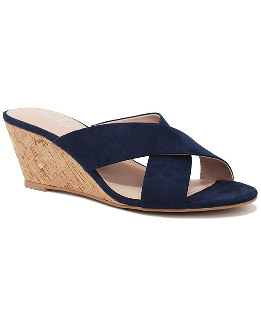 Navy Charles by Charles David Womens Grady Wedge Sandal