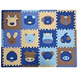 Partiss 12 Pcs Cute Animal Insect EVA Foam Play Mats Floor Puzzle Crawling Play Game Mat for Baby Kids Childre Toddlers -Bright Color,Environmental Material, Safe to Use(One Size,Animal A)