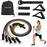 Resistance Band Set, WENFENG Workout Bands Include 5 Exercise Bands, Door Anchor, Foam Handles, Ankle Straps and Carrying Bag for Resistance Training, Physical Therapy, Home Workouts