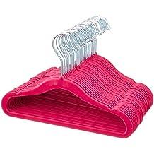 AmazonBasics Kids Velvet Hangers - 30-Pack, Pink