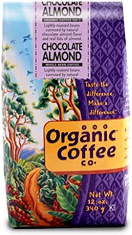 The Organic Coffee Co., Chocolate Almond- Whole Bean, 12 Ounce- 3 PACK, Flavored, USDA Organic
