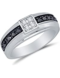 10k white gold black white round diamond mens wedding band ring prong setting 12 cttw - Mens White Gold Wedding Ring