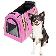 Frontpet Luxury Handbag Dog Purse - Stylish Soft Sided Pink Pet Carrier for Small Dogs and Cats!