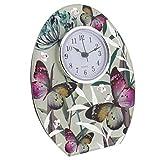 Hestia Glass Butterfly Freestanding Mantel Clock by Hestia
