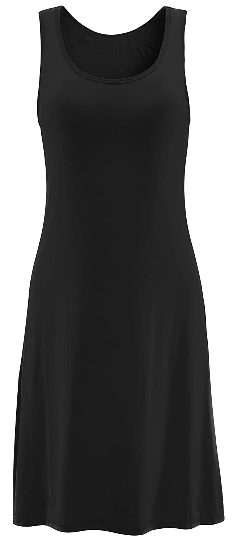 Black_01 Vocni Sleepwear Womens Nightgown Full Slip Lounge Dress with Builtin Shelf Bra