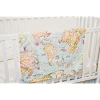 Amazon country rustic blankets swaddling nursery bedding welcome to the world baby and kids blanket a handmade designer blanket with a world map fabric on one side and soft cream minky on the back gumiabroncs Images