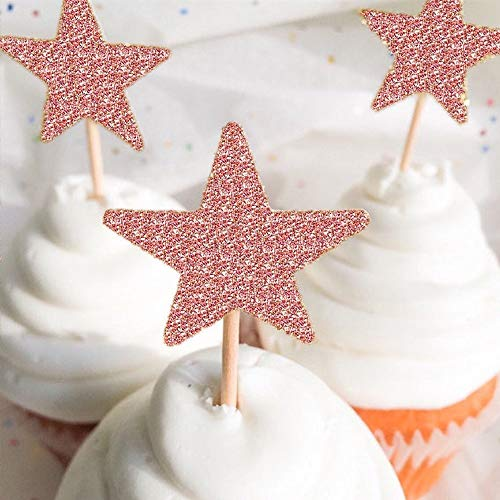 Set of 7 Glitter Rose Gold Happy Sweet 16 Cake Toppers Pack Star Cupcake Party Decor Decorations (D)