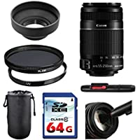 Canon EF-S 55-250mm f/4-5.6 IS II Lens Bundle + UV Filter + Polarizer Filter + 2 In 1 Lens Cleaning Pen + High Speed 64GB Memory Card + Rubber Hood + Deluxe Lens Case