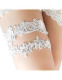 MiMiLive Lace Bridal Garter Set of 2 Ivory Wedding Garters Flower Leaf Style Garter Belts with Stretch (White)