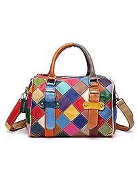 Greeniris Ladies Genuine Leather Handbags Colorful Plaid Crossbody Handbags Hobo Shoulder Totes Bags for Women
