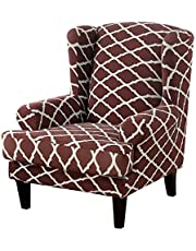 Super Stretch Wingback Chair Slipcover Wingback Chair Covers with Cushion Cover Soft Washable Universal Armchair Furniture Protector for Living Room