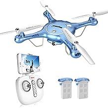 DoDoeleph Syma X5UW FPV Live Video 6-Axis Gyro RC Headless Quadcopter Drone UFO with HD WiFi 720P Camera Bonus Battery Included Blue