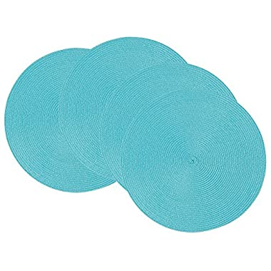 Now Designs Disko Round Placemats, Set of Four, Turquoise