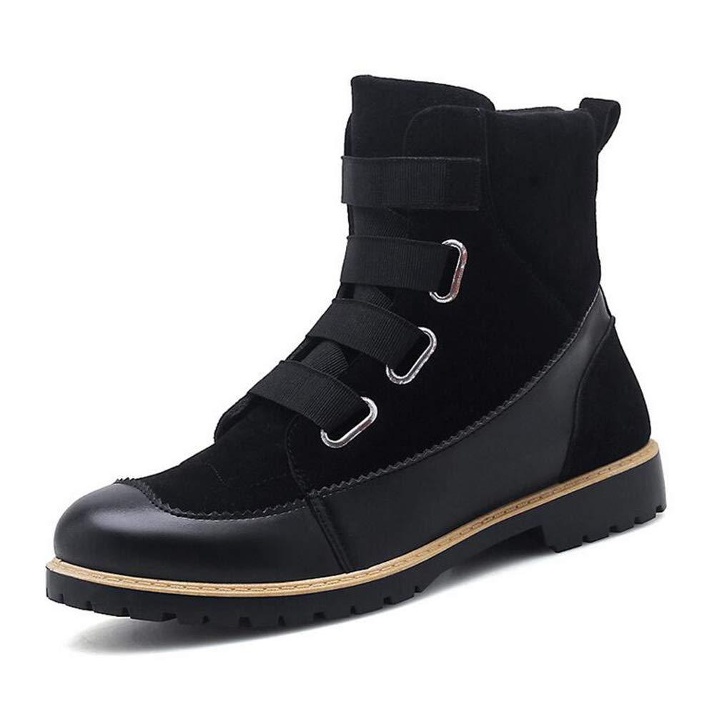 Hy Herrenschuhe, Leder Herbst Winter Formale Schuhe, Flut Flow Persönlichkeit Martins Stiefel, Flache Freizeitschuhe (Farbe : Schwarz, Größe : 39)