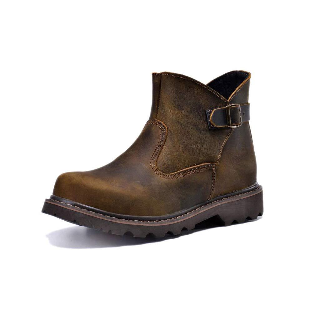 WANG-LONG Schuhe Herren Martin Stiefel Herbst Und Winter Retro Outdoor Werkzeugausstattung Desert Leather Rutschfeste Mode,braun-43