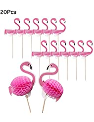 Errollina 20 PCS 3D Flamingo Cupcake Toppers Cake Decorations Cocktail Tropical Wedding Birthday Hawaii Luau Beach Party Food Drink Picks(Pink)