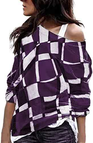 Women s Cold Shoulder Loose Pullover Sweater Long Sleeve Knit Jumper  Oversized Tunics Blouse Top 2584feabb