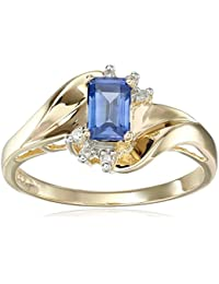 10k Yellow Gold Emerald Cut Gemstone and Diamond Accent Ring, Size 7