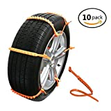 MeiBoAll 10 PCS Protable Emergency Traction Aid Anti-Slip Chain Go Cleated Tire Traction Snow Ice Mud for Universal Car SUV Van Truck