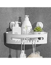 Luxear Hoekplank met zuignap zonder boren, waterdichte badkamer doucheplank, doucheplank, douchemand met afvoeropeningen voor shampoo, oliebestendige keukenopberger, laadvermogen 10 KG
