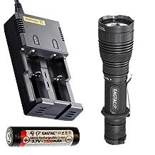 Bundle: EagleTac G25C2 Mark II XP-L HD(HI) Flashlight w/I2 Charger & Eagletac 3500mAh 18650 Battery