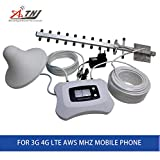 Fashion Design! Smart 3G 4G Signal Repeater AWS 1700MHz Cell Phone Signal Booster Amplifier Yagi+Ceiling Antenna with Large Cover
