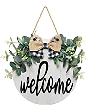 Alynsehom Welcome Sign Front Door Welcome Wreaths Wood Sign for Farmhouse Porch Decor Rustic Wooden Wall Sign Hangers Door Decorations Outdoor Hanging Craft