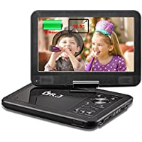 DR.J 5 Hours 10.5 Swivel Screen Portable DVD Player with Built-in Rechargeable Battery and USB/SD Card Reader, 5.9ft/1.8M Car Charger & Battery Adapter