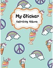 My Sticker Collecting Album: Blank Sticker Book Unicorn Theme Journal
