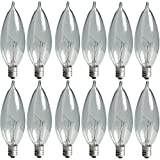 GE Crystal Clear Bent Tip Decorative Light Bulbs (40 Watt), 370 Lumen, Candelabra Light Bulb Base, 12-Pack Chandelier Light Bulbs