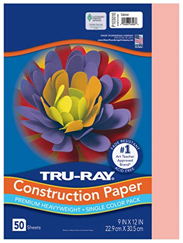 "Tru-Ray Heavyweight Construction Paper, Salmon, 9"" x 12"", 50 Sheets"