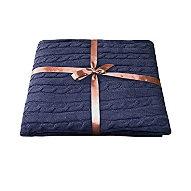 NTBAY 100% Cotton Super Soft Warm Multi Color Throw(Navy)