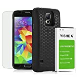 YISHDA Galaxy S5 Extended Battery, 6100mAh Extended Li-ion Battery for Samsung Galaxy S5 I9600 G900F G900V G900T G900A G900P & Back Cover & Protective Case, Tempered Glass Screen Protector Included