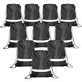 Black Drawstring Backpack Bags Reflective 10