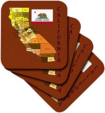 3dRose Map and Flag of The State of California with All counties Colored. - Soft Coasters, Set of 4 (cst_172011_1)