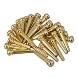 BQLZR Golden Brass Slotted Bridge Pins End Pins Set for Acoustic Guitar Replacement Pack of 30