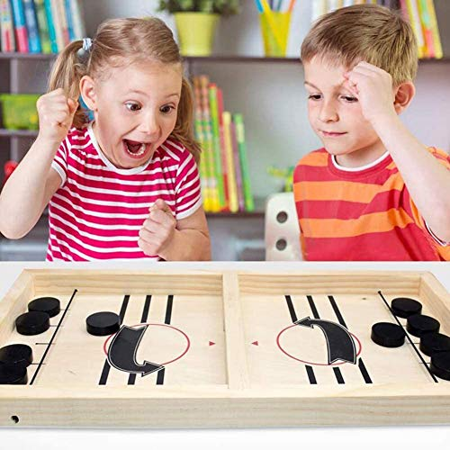HELLO PAPAYA Fast Sling Puck Game,Wooden Hockey Game,Desktop Battle Sling Hockey Table Game.Adults and Kids Family Funny Slingshot Games Toys.Foosball Winner Board Games-Large Size